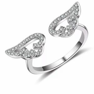 Silver Plated Crystal Wings Ring